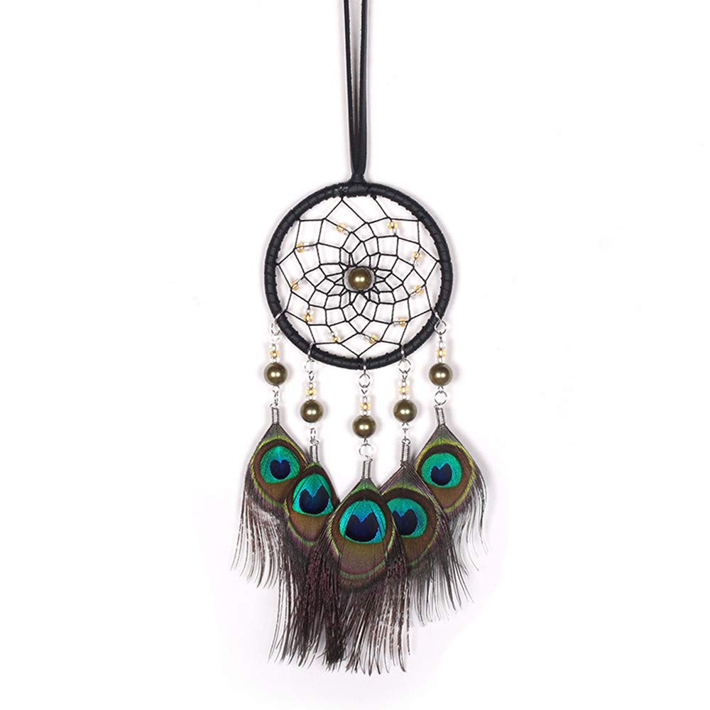 MaxFox Lace Net Dream Catcher Feather Bead Handmade Crafts Boho Style Dreamcatcher Hanging Decoration Ornament Gift (Multicolor)