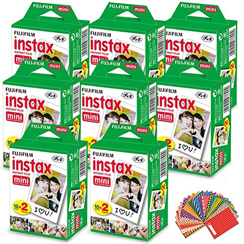 FujiFilm Instax Mini Instant Film 8 Pack (8 x 20) Total of 160 Sheets + 180 Assorted Colorful Mini Photo Stickers for FujiFilm Instax Mini 9 8 7 7s 90 70 50s 25 300 Instant Cameras (Fuji Instax 50s Film)