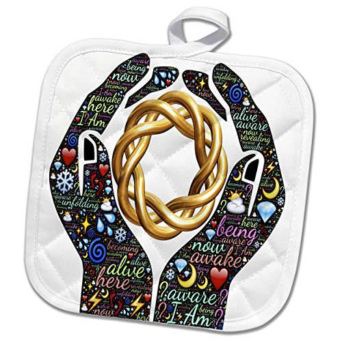3dRose Spiritual Awakenings-Sayings and Slogans - Motivational cupped hands with sayings and spiral chain - 8x8 Potholder (phl_214648_1)