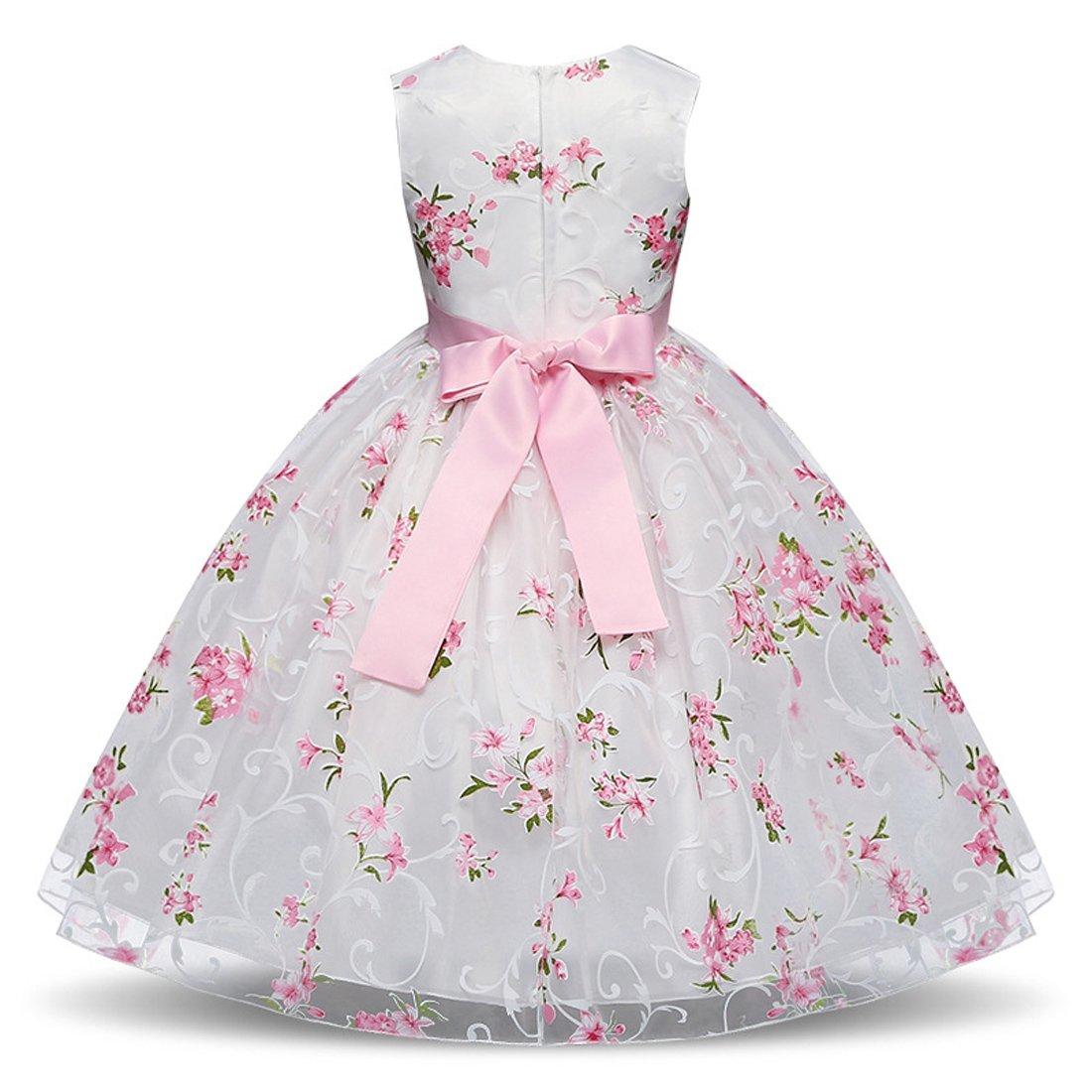 Ankoee Vestido Elegante Boda Fiesta con Flores para Niña Vestido Blanco de Princesa para Chica Dama de Honor: Amazon.es: Ropa y accesorios