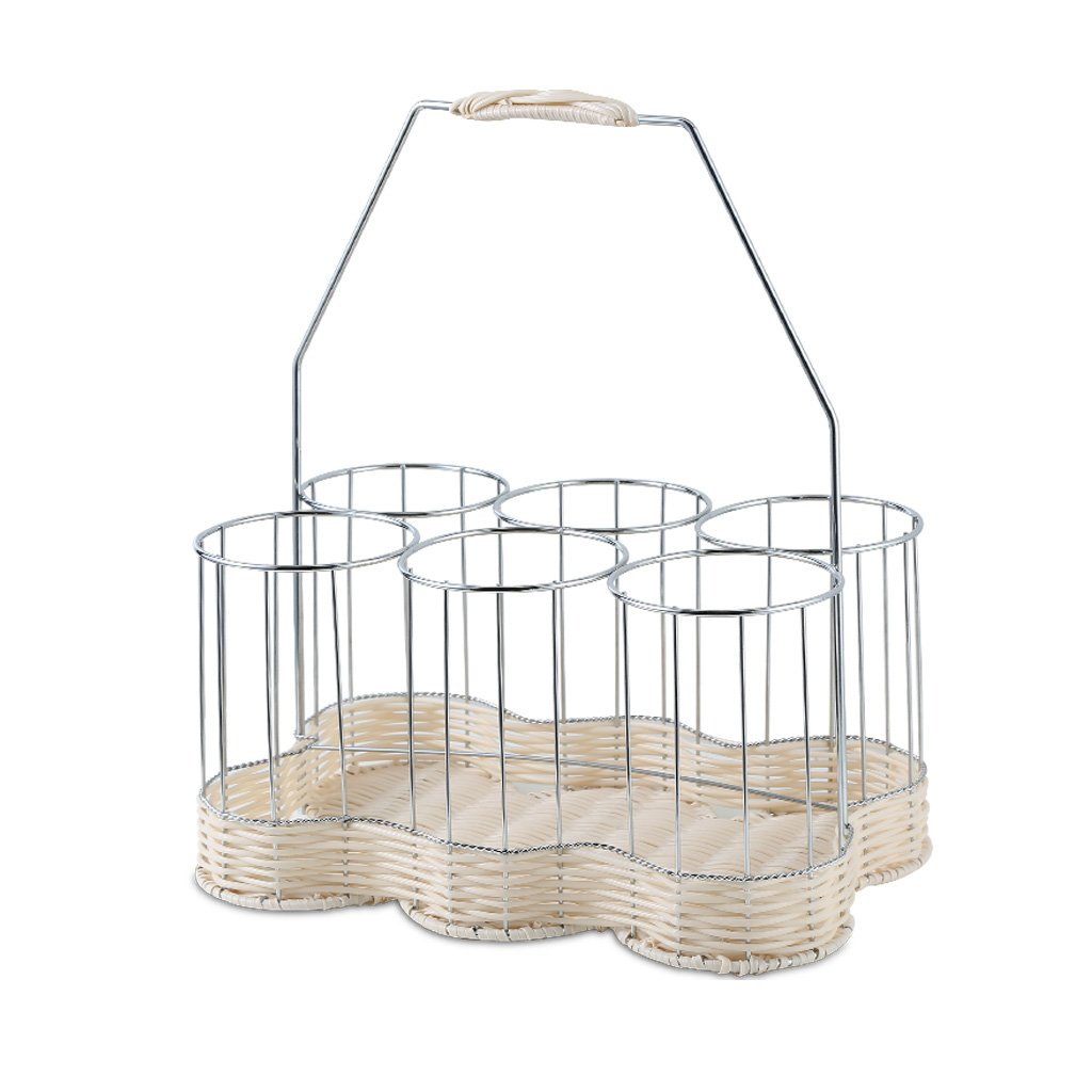 GAOYANG Stainless Steel Rattan Woven Wine Rack Six Bottles Of Woven Rattan Hand-operated Wine Baskets. (Color : Natural)