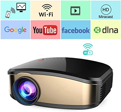 WiFi Projector, iBosi Cheng Portable Mini LCD Video Projector Full HD 1080P LED Home Theater Projector with HDMI/ USB/ VGA/ AV Input for Smartphones ...