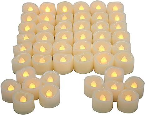 Amazon.com: Juego de 48 velas sin llama para decoración de ...