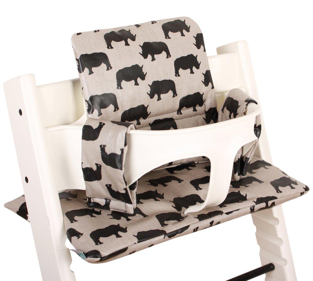 Coussin Chaise Haute pour Stokke Tripp Trapp - Beige avec rhinos - Facile à nettoyer ♥ UKJE.FR