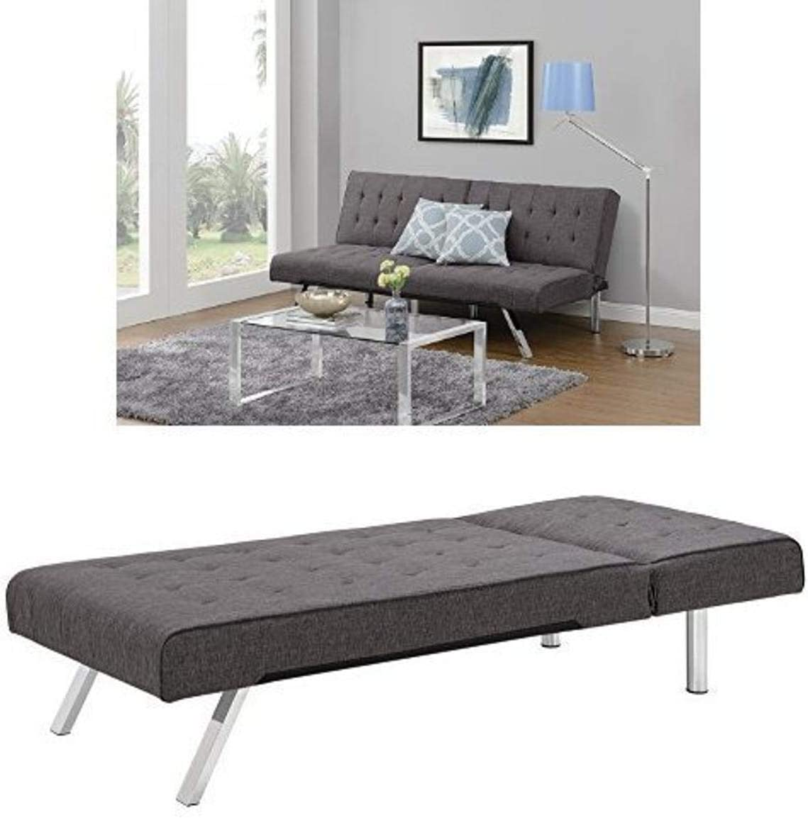 DHP Emily Sectional Sofa Sleeper, Grey