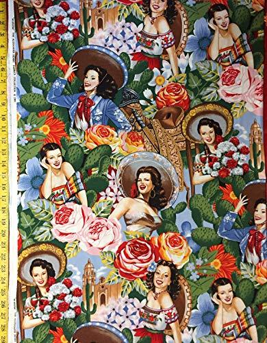 Alexander Henry Fabric (Las Señoritas Bright Alexander Henry Fabric - by The Yard (Yard))