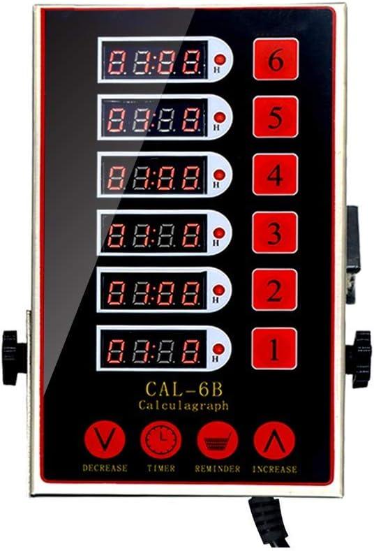 Li Bai Kitchen Cooking Timer Commercial Digital Reminder Alarm Clock Restaurant Home Loud Adjustable 6 Channels Clear LED Display Stainless Steel Multiple Events