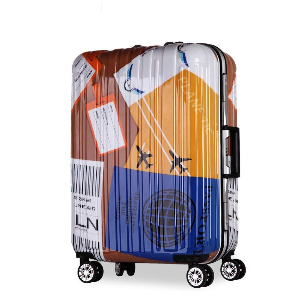 ZHAOSHUHLI スーツケースユニバーサルホイールアルミフレームトロリーケース荷物女子学生人格スーツケースロックボックス (Color : Yellow blue, Size : 24'') B07R3S5FLG Yellow blue 24''