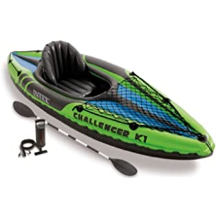 Intex Challenger K1 Kayak, 1 Person Inflatable Kayak Set with DwfceN Aluminum Oars and High