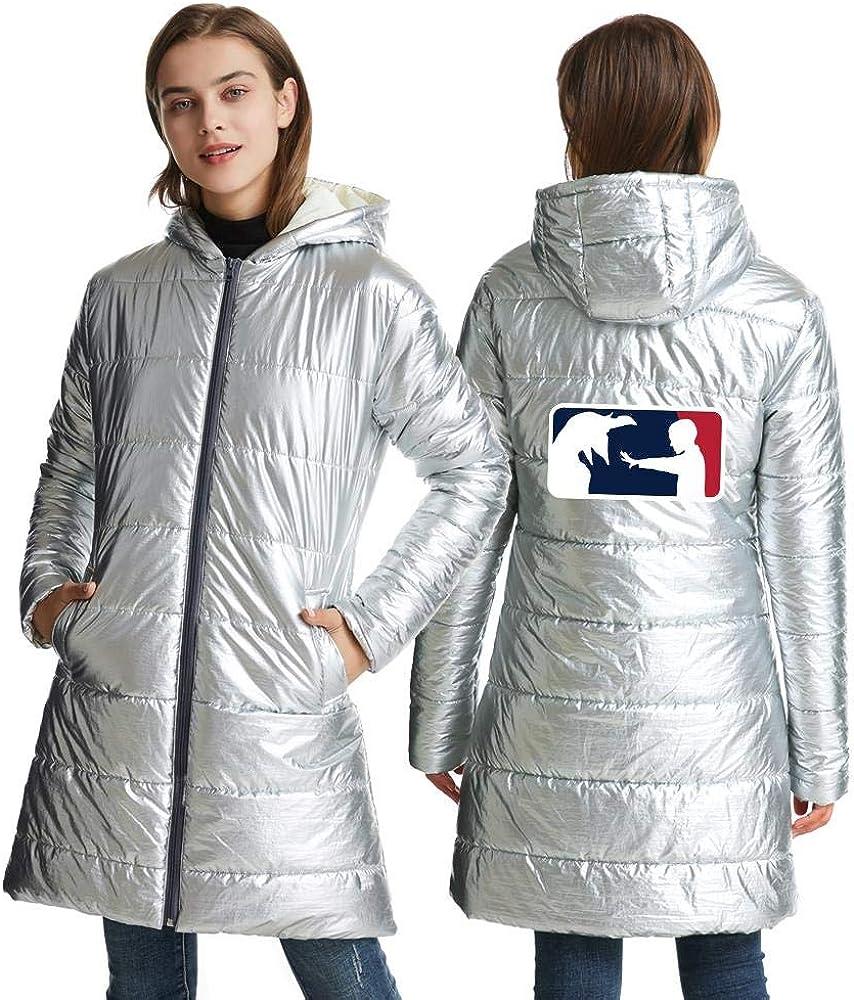 XJXDWY Longue Section Mme À Capuche Doudoune Automne Et Hiver Femme Manteau Vêtements Chauds Anime Rayures Imprimées (XXS-4XL) Silver