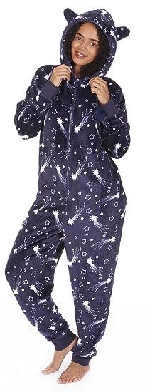 Women's Hooded Star Print Jumpsuit PJ's