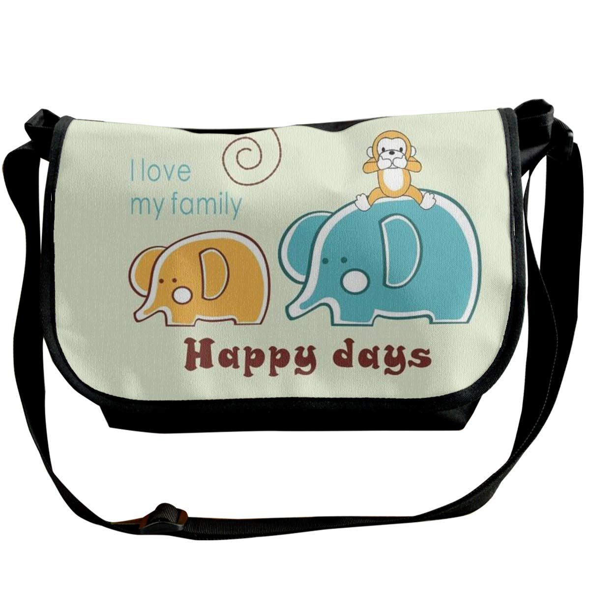 XIANGXIANG SHOP Happy Elephant Family Fashion Unisex Casual Popular Outdoor Sling Bag Messenger Bag Shoulder Bag