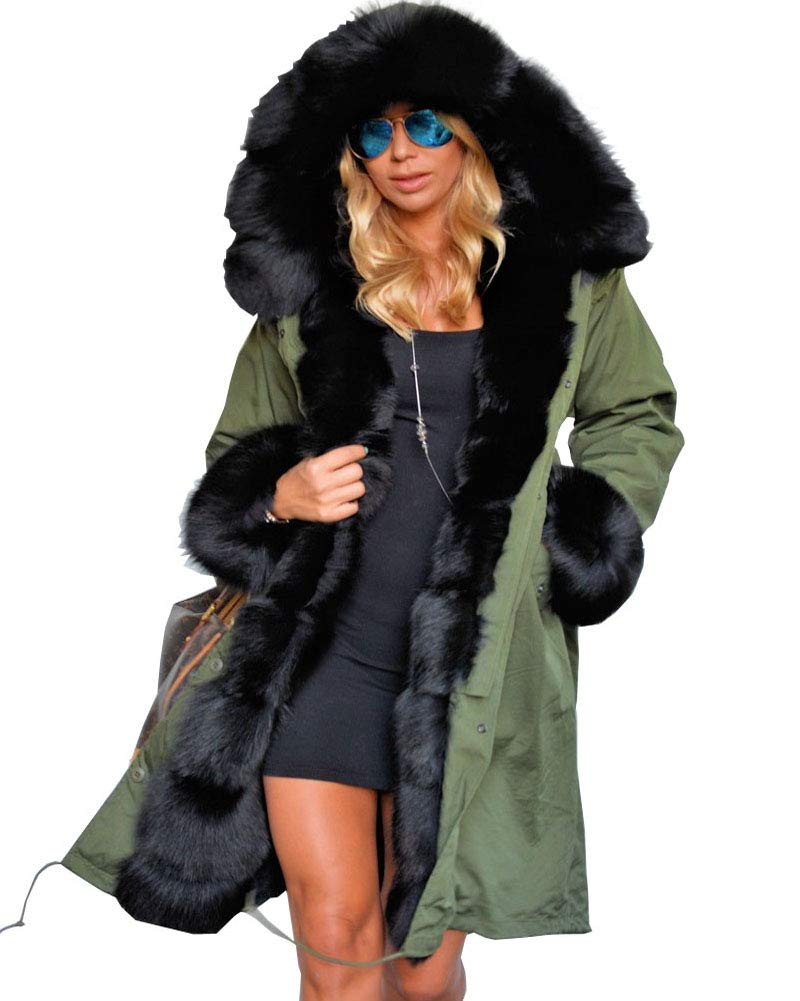 Aofur Winter Ladies Coat Faux Fur Warm Parka Long Hooded Jacket Casual Outwear Size 8-20 Ao7058-Green