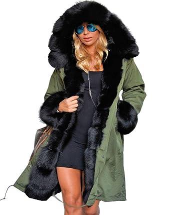 Aofur Manteau Femme Chaud Parka Hiver Fourrure Avec Capuche