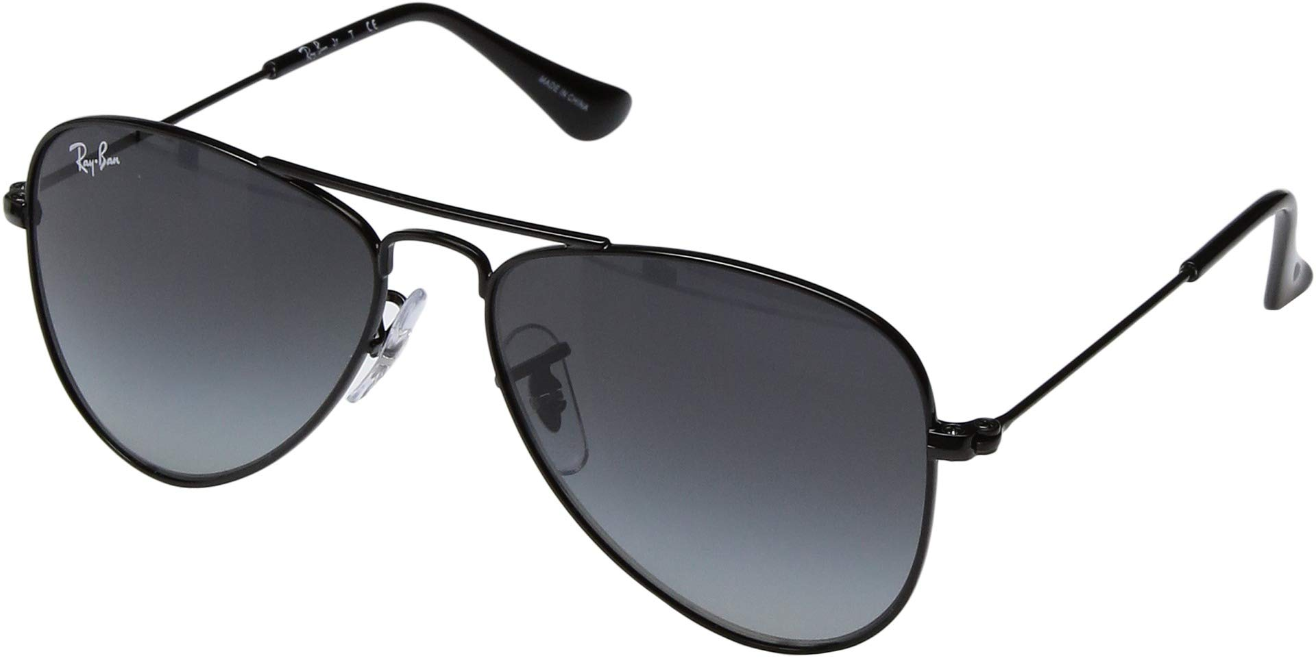 RAY-BAN JUNIOR Kids' RJ9506S Aviator Kids Sunglasses, Shiny Black/Grey Gradient, 50 mm by RAY-BAN JUNIOR