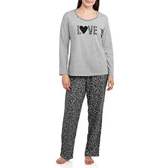 Secret Treasures Womens Long Sleeve Knit Pajama Top and Pants grey small