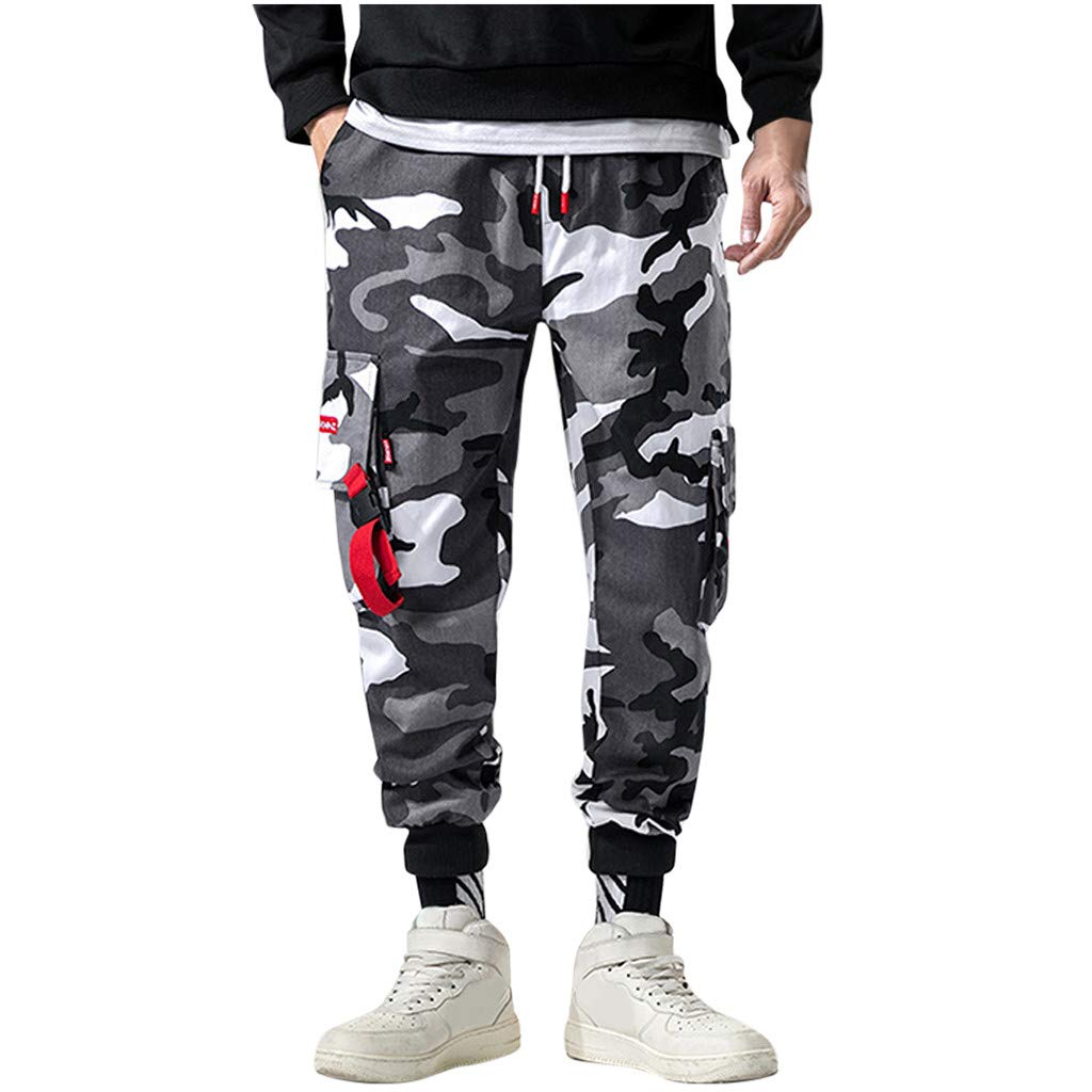 FKSESG Men's Pants Men Loose Camouflage Pockets Outdoors Sports Overalls Pants