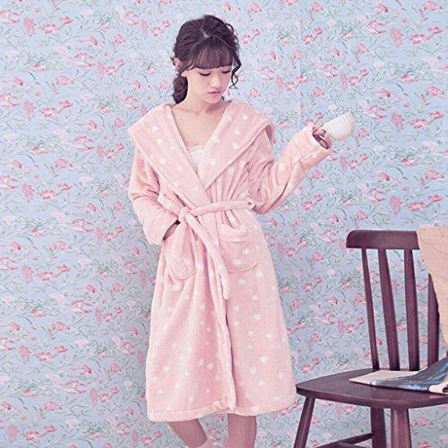 di l'accappatoio GAOLILI signore Le hanno chiaro addensato autunno Rosa e caldo dell'accappatoio sveglie dell'inverno S4ASq