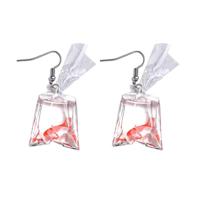 c50cc3a8a4791 Funny Goldfish Earrings, Water Bag Shape Dangle Hook Earrings Charm Jewelry  Gift Earrings for Women Girls
