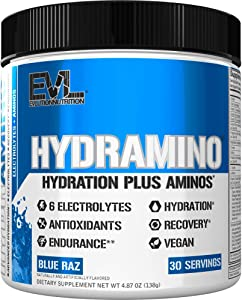 HYDRAMINO Complete Hydration Multiplier, All 6 Electrolytes, Vitamin C & B, Fluid Boosting Aminos, Coconut Water, Endurance & Recovery, Immunity Support, Antioxidants, 0 Sugar, 30 Serve, Blue Raz