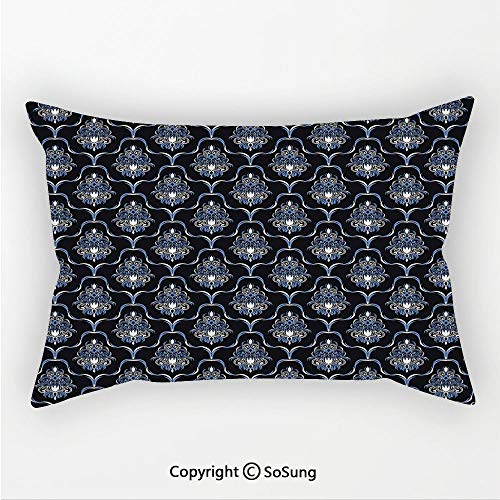 Dark Blue Linen Car Neck Pillow,Vintage Royal Damask Motifs Swirls Curvy Tile Victorian Fashion,13.7x7.8Inches,for Sofa Bedroom Car & Home Decorate Dark Blue Light Blue White