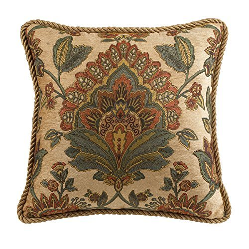 Croscill Minka Square Throw Pillow in Blue and Ivory, Floral Pattern, 18