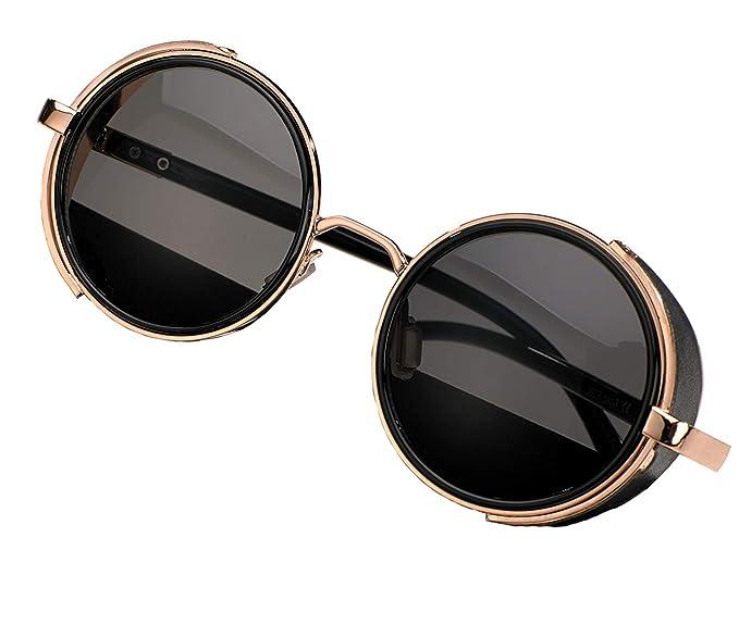 MFAZ Morefaz Ltd Redondas Gafas de Sol Steampunk Glasses ...