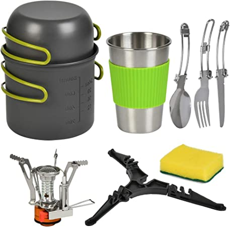 TIMESETL Utensilios Cocina Camping con 1.2 L Ollas Camping y 0.6L Sartén de Aluminio, Cacerolas de Acampada Portátil Y Plegable - Cacerolas de ...
