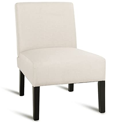 Giantex Accent Armless Chair Fabric Upholstered Contemporary Dining Sofa  Chair Living Room Bedroom Chair w/Wood Legs Padded Seat (Beige)