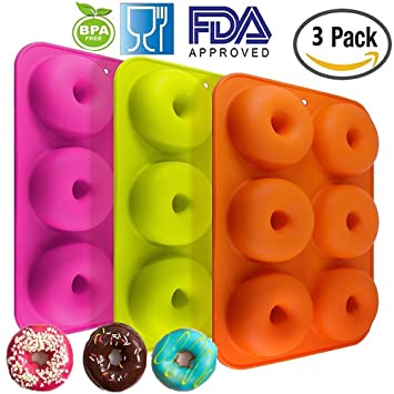 Meiso Moldes de silicona para galletas de galletas, 3 unidades, 6 cavidades, antiadherentes