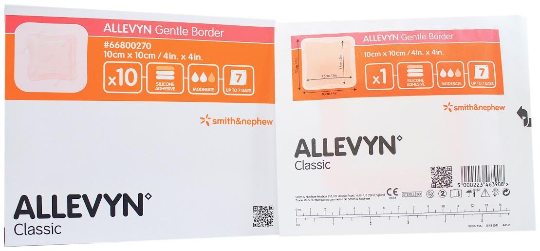 Smith and Nephew 66800270 Allevyn Gentle Border Dressing 4'' x 4'' - Box of 10