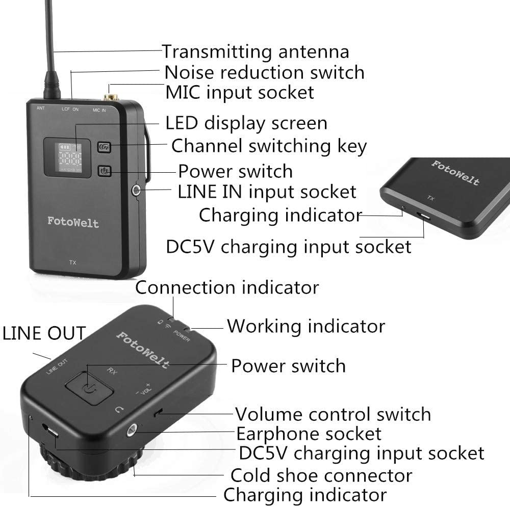 Fotowelt MK8 4 Channels UHF Wireless Lavalier Microphone Built in Battery Wireless Lapel Mic Compatible for Canon Nikon Sony Panasonic D//SLR Camera,XLR Camcorder /& Smartphone
