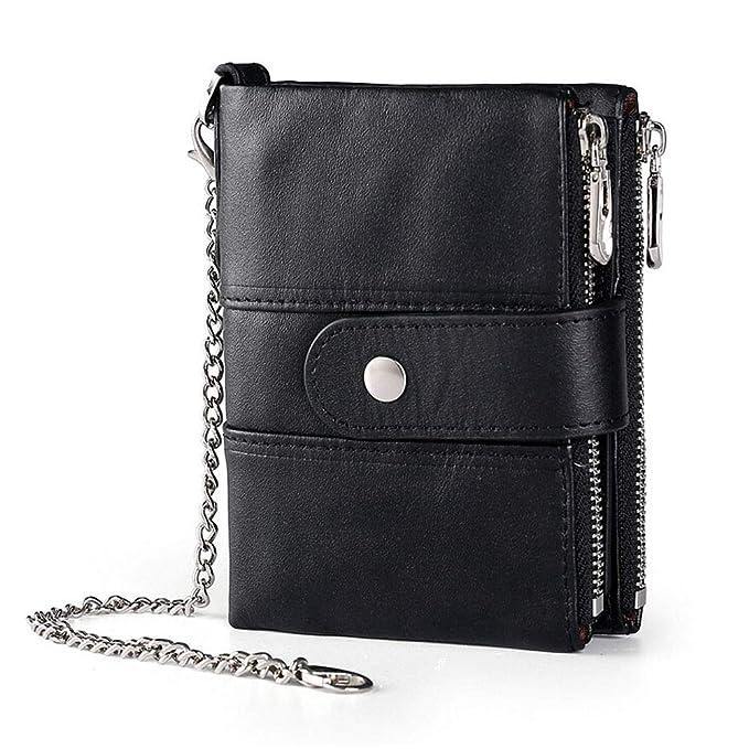 Amazon.com: Boshiho billetera de cuero real con bloqueo RFID ...