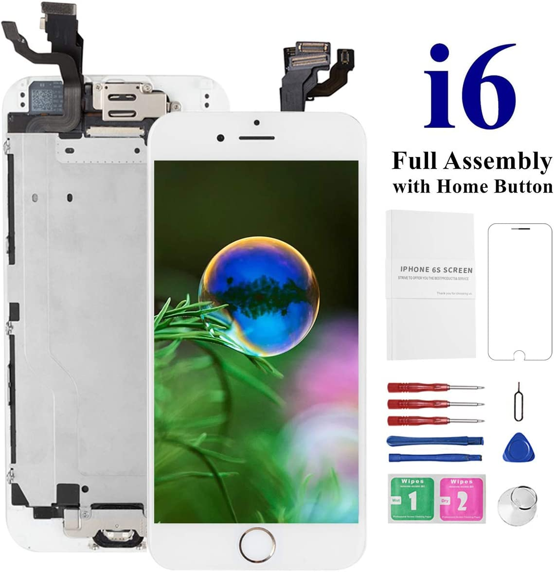 Screen Replacement Kit for iPhone 6 White, Model A1549, A1586, A1589, Mobkitfp Full Assembly LCD Digitizer Display Replacement with Front Camera, Ear Speaker and Light/Proximity Sensor