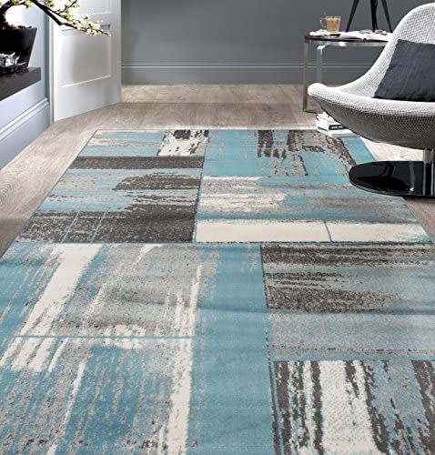 Rugshop Contemporary Distressed Geometric Boxes Design Area Rug 7' 10″ x 10'2″ Blue