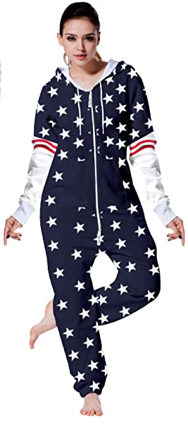 Adult Women Fleece Onesie One Piece Pajama Jumpsuit US Flag Allover Stars S 483a0c642