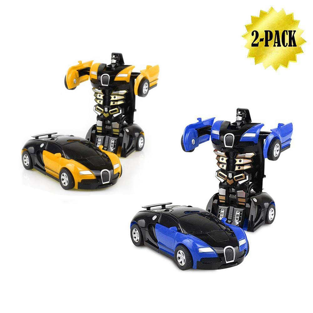 WOCY Toy Cars 2 Packs, Kids Toys Robot Pull Back Cars for Kindergarten Toys Deformation Car (Blue and Yellow)