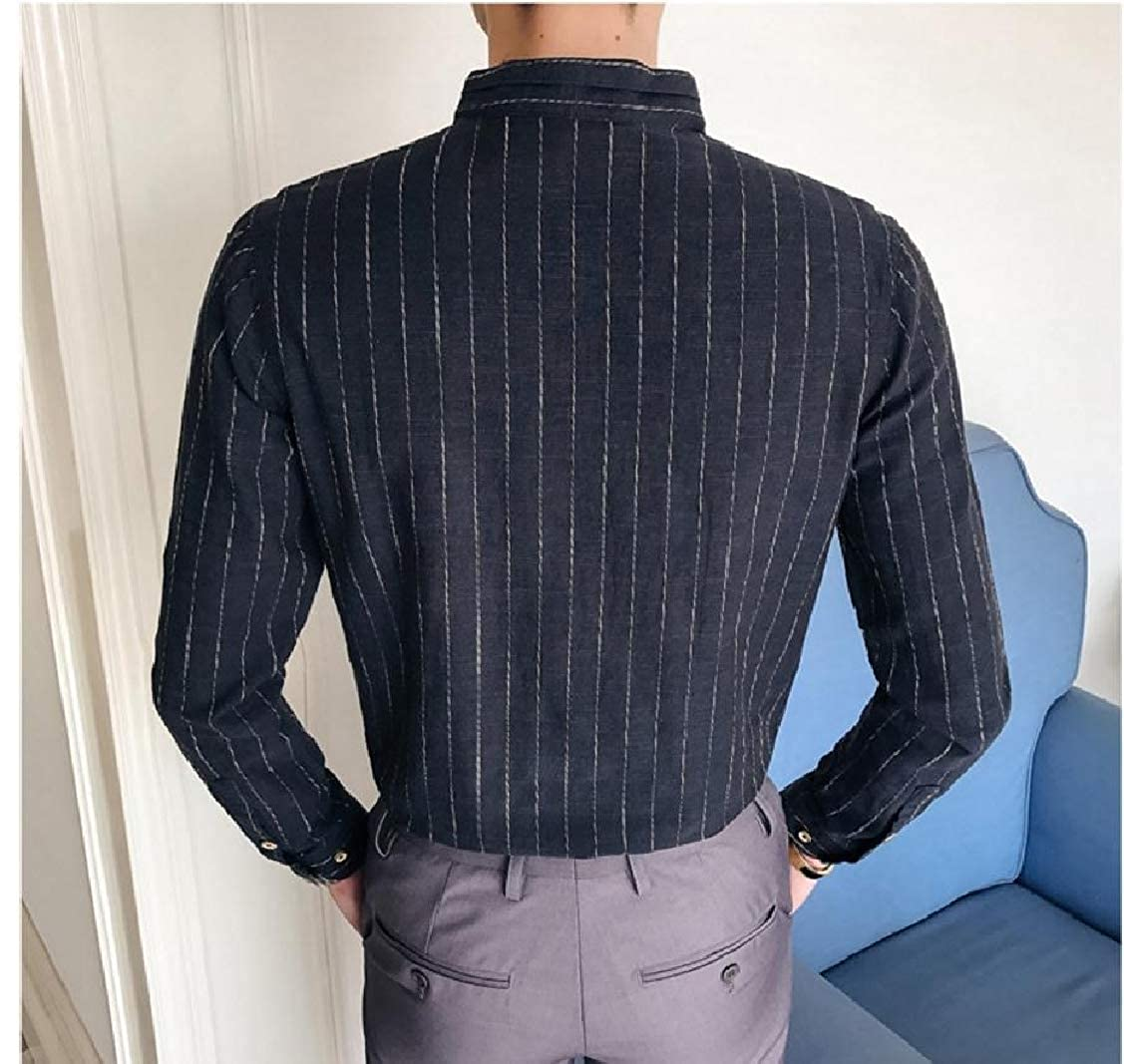 Coolred-Men Office Comfort Striped Cotton Stand-up Collar Collar Shirt