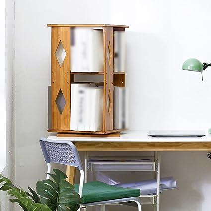 Desktop Rotating Bookshelf Modern Minimalist Office Desk Racks Solid Wood Storage Bamboo Design