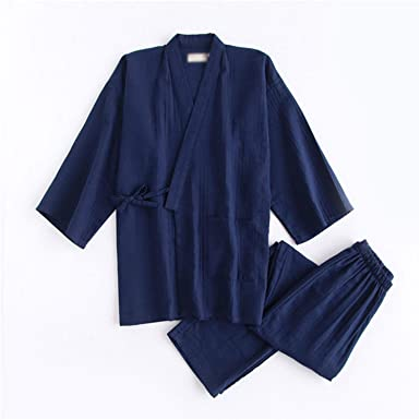 Thadensama Black Kimono Robes for Male 100% Cotton Pajamas Sets Japanese Sauna Robes Mens Pyjamas