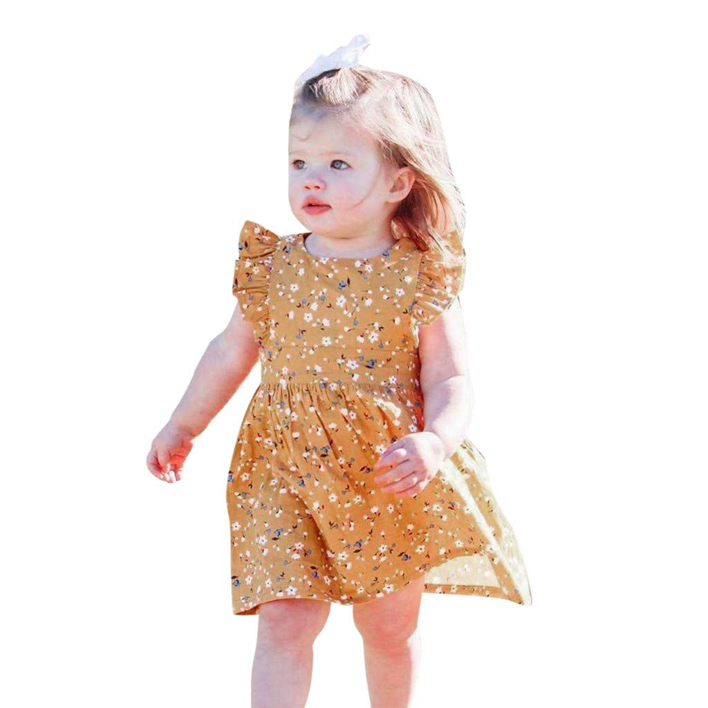 84d550c65ed0 Amazon.com  GorNorriss Baby Dress Summer Infant Girls Short Sleeve Floral  Print Dress Dresses  Clothing