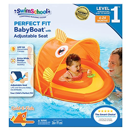 SwimSchool Gold-E-Fish Fabric Baby Boat, Splash and Play, Adjustable Safety Seat, Extra-Wide Inflatable Pool Float, Retractable Canopy, UPF 50, 6 to 24 Months, Orange ()