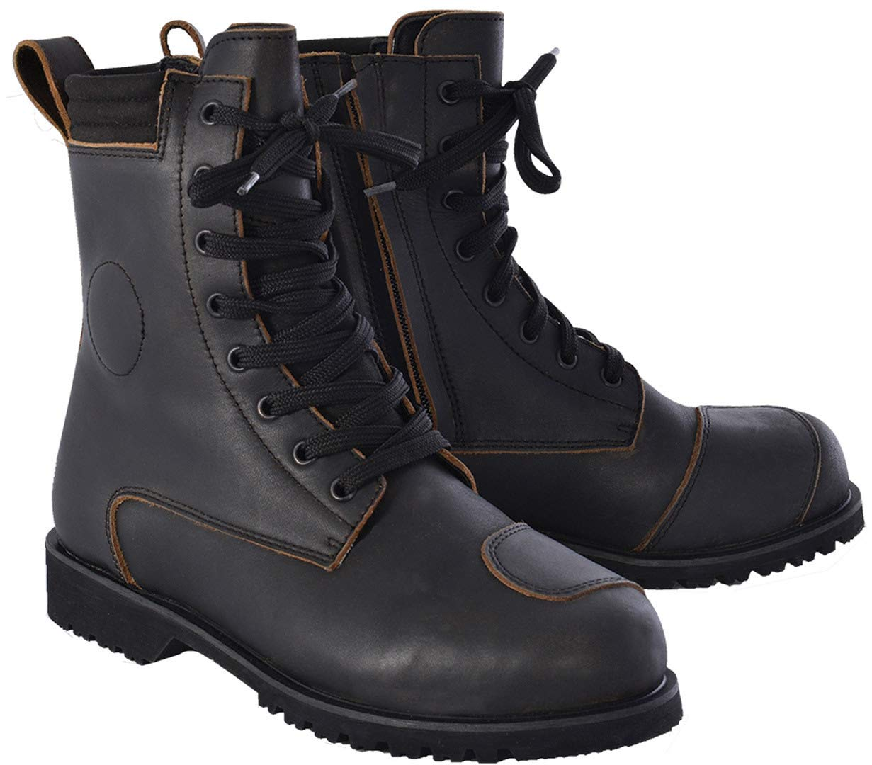 UK 6 Oxford Magdalen Ladies Leather Motorcycle Boots 39 Black BW12039