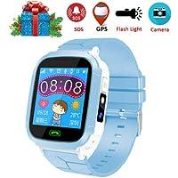 melysEU Juego Reloj Inteligente de niños Reloj Inteligente para niños con Juegos de cámara Digital Pantalla táctil Reloj para teléfono Celular SOS (Azul)