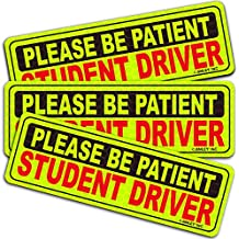 Anley Reflective Student Driver Magnetic Car Signs - Please Be Patient Student Driver - Yellow Large Bold Text Vehicle Safty Bumper Magnet for New Drivers or Beginner 10 inch - Set of 3