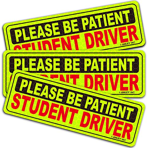 Anley Reflective Student Driver Magnetic Car Signs - Please Be Patient Student Driver - Yellow Large Bold Text Vehicle Safty Bumper Magnet for New Drivers or Beginner 10 inch - Set of 3 (New Student Driver)