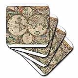 TNMGraphics World Map 1689 Coaster, Soft, Set of 8