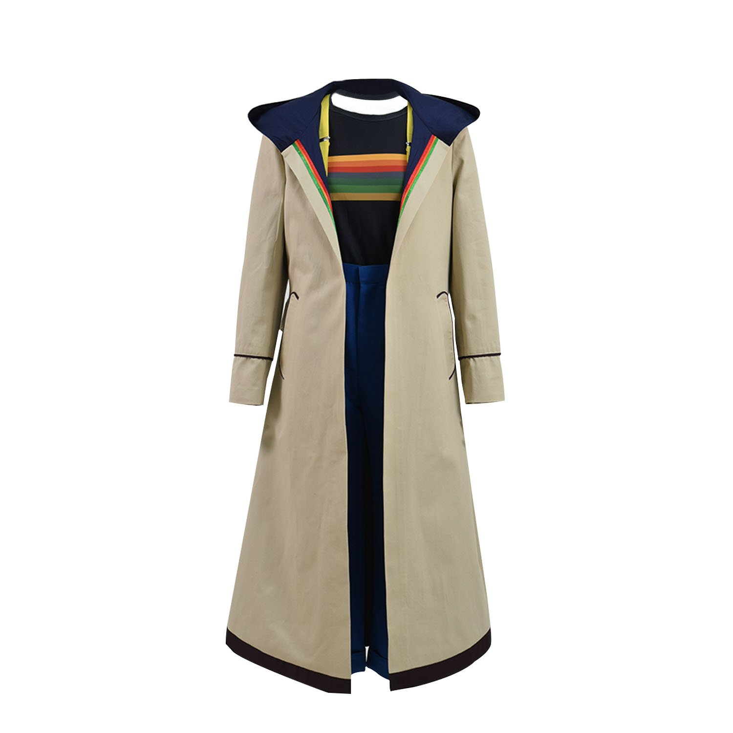 VOSTE Who Is Doctor thirteenth 13th Dr. Cosplay Costume Beige Coat For Women (Large, Full Set)