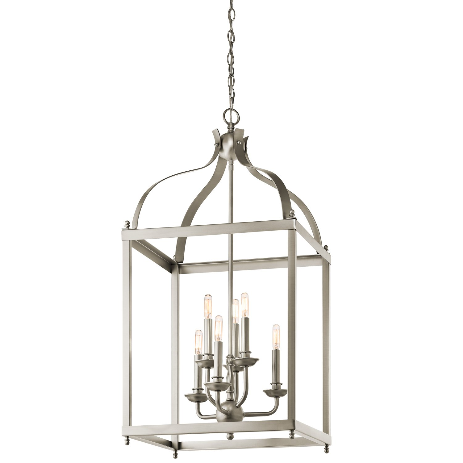 Kichler 42568ni Larkin Foyer Chandelier 6 Light Brushed Nickel Ceiling Pendant Fixtures Com