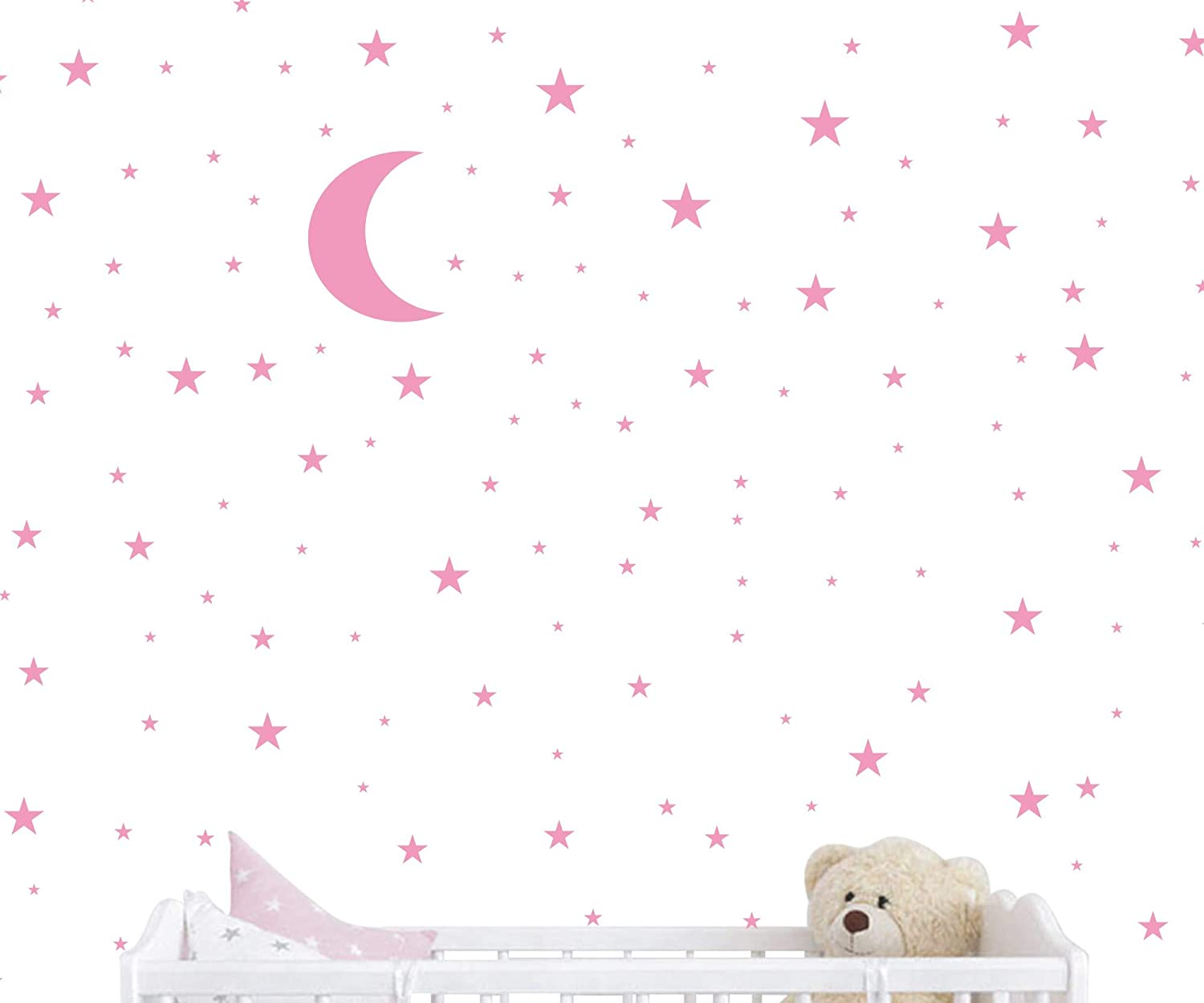 Moon and Stars Wall Decal Vinyl Sticker For Kids Boy Girls Baby Room Decoration Good Night Nursery Wall Decor Home House Bedroom Design YMX16 (Soft Pink)